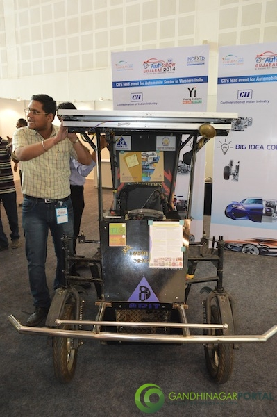 Solar car at CII Autoshow 2014, Gandhinagar Gandhinagar, Gujarat, India.