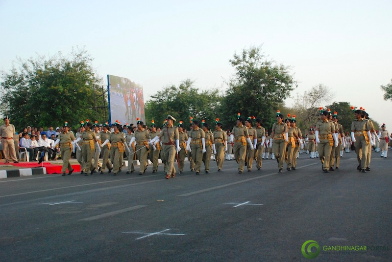 53rd Gujarat Sthapana Divas 2013 : Woman Police Force Gandhinagar, Gujarat, India.