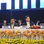 Gautam Adani, R.C.Bhargava, Geoffrey Lee and Mr. Sasaki at inauguration of 6th Vibrant Gujarat Global Summit 2013- Mahatma Mandir, Gandhinagar Gandhinagar, Gujarat, India.