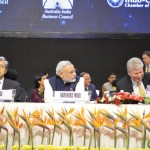Shri Narendra Modi with Panel of Delegates at 6th Vibrant Gujarat Global Summit 2013- Mahatma Mandir, Gandhinagar Gandhinagar, Gujarat, India.