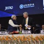 Shri Narendra Modi with Stewart Beck at Vibrant Gujarat Global Summit Inauguration 2013- Mahatma Mandir, Gandhinagar Gandhinagar, Gujarat, India.