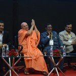 Swami Adhyatmanandji introduced at Youth Convention by Vivekananda Yuva Parishad- Vibrant Gujarat Summit 2013-Gandhinagar Gandhinagar, Gujarat, India.