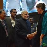 Shri Narendra Modi Meets Caroline Den Dulk at Convention by Vivekananda Yuva Parishad- Vibrant Gujarat Summit 2013-Gandhinagar Gandhinagar, Gujarat, India.