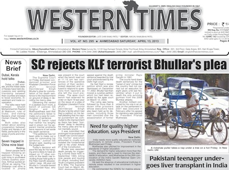 13 April 2013- Western Times English : Daily English News Paper of Gujarat