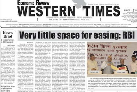 6 May 2013- Western Times English : Daily English News Paper from Gujarat on Gandhinagar Portal