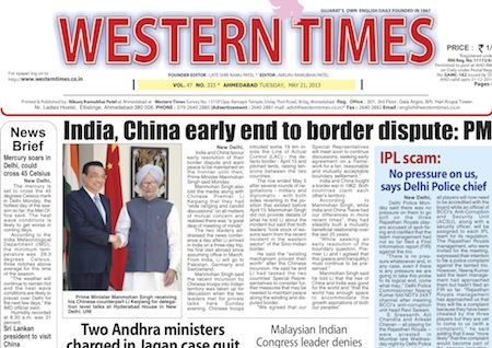 21 May 2013- Western Times English : Daily English News Paper from Gujarat on Gandhinagar Portal