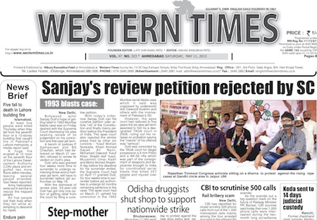 11 May 2013- Western Times English : Daily English News Paper from Gujarat