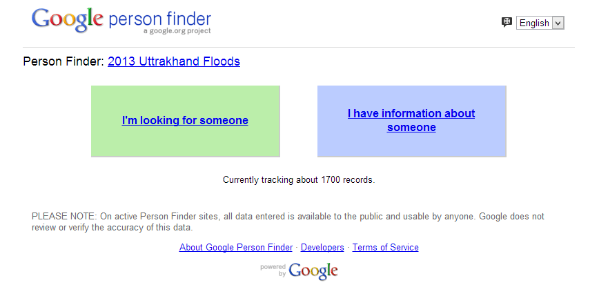 Person Finder : Uttrakhand Floods. Gandhinagar, Gujarat, India.