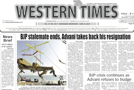 12 June 2013- Western Times English : Daily English News Paper from Gujarat on Gandhinagar Portal