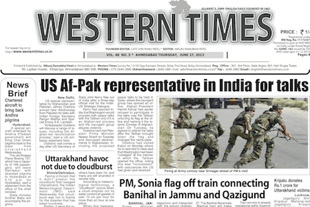 Western Times English:- Daily English News Paper of Gandhinagar, 26 June 2013 on Gandhinagar Portal