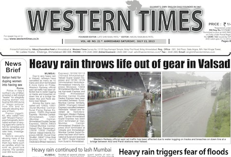 13 July 2013- Western Times English : Daily English News Paper from Gujarat on Gandhinagar Portal