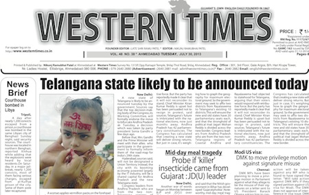 Western Times Daily English News E Paper 30 July 2013 A Group Of Publications Consisting 39 Year Old Gujarati