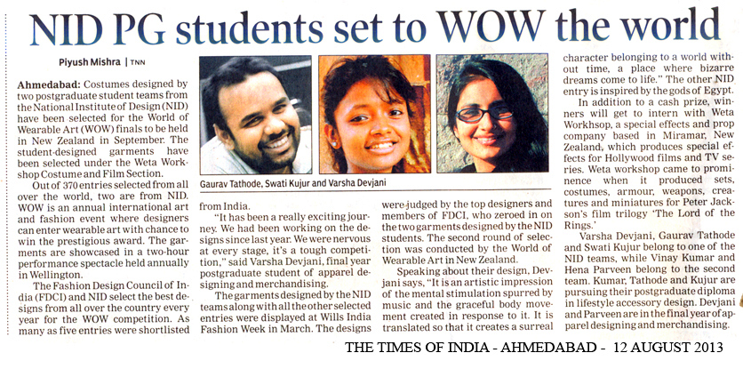NID Gandhinagar Students got selected for International Competition World of Wearable Art Gandhinagar, Gujarat, India.