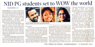 Gandhinagar NID goes International : Students got selected in Finals of International Competition of World of Wearable Art