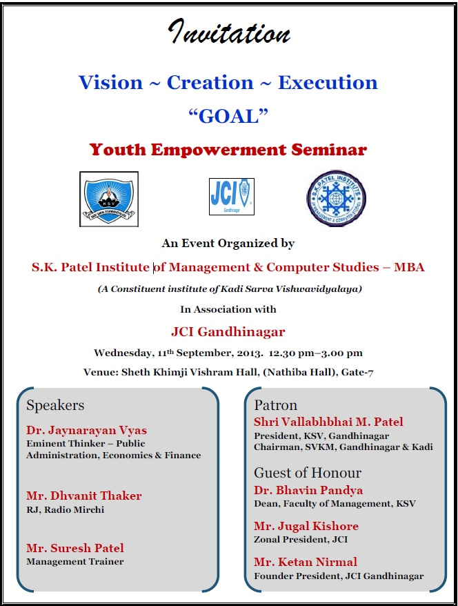 s.k.patel-youth-empowerment-seminar-11-sept-invitation Gandhinagar, Gujarat, India.