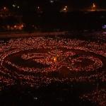 Gandhinagar Cultural Forum-2103 Maha Aarti Arial View Images.` Gandhinagar, Gujarat, India.